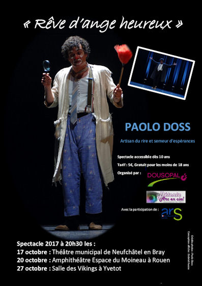Affiche Spectacle Paolo Doss 27 octobre Les Vikings Yvetot 20h30